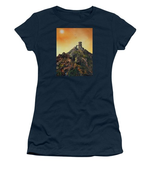 Women's T-Shirt (Junior Cut) featuring the painting Mow Cop Castle Staffordshire by Jean Walker