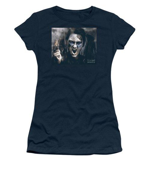 Spooky Portrait Of Dead School Girl Giving Finger Women's T-Shirt