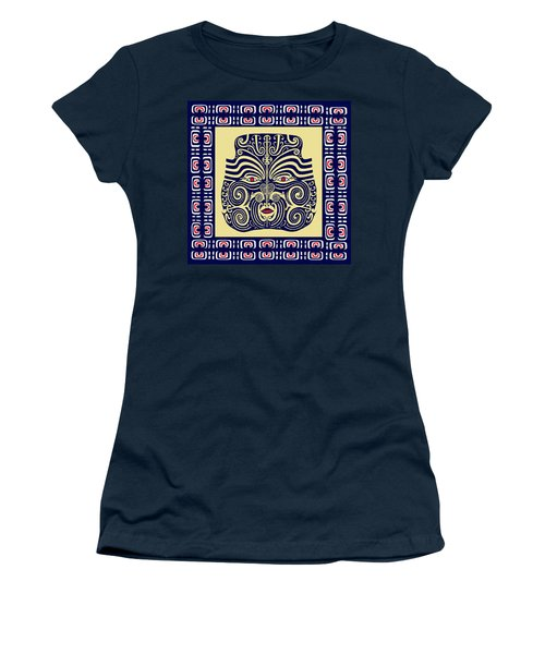 Women's T-Shirt (Junior Cut) featuring the digital art Marquesas Tribal Spirits by Vagabond Folk Art - Virginia Vivier