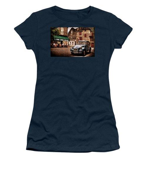 Women's T-Shirt featuring the photograph Citroen 2cv In French Village / Meyssac by Barry O Carroll