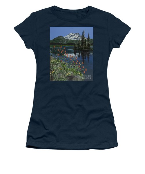 Women's T-Shirt (Junior Cut) featuring the painting A Peaceful Place by Jennifer Lake