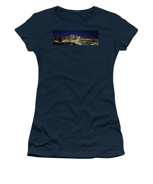 Buildings Lit Up At Night In A City Women's T-Shirt (Athletic Fit)