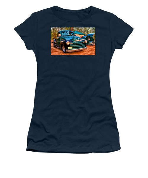 Women's T-Shirt (Junior Cut) featuring the painting '51 Chevy Pickup With Teardrop Trailer by Michael Pickett