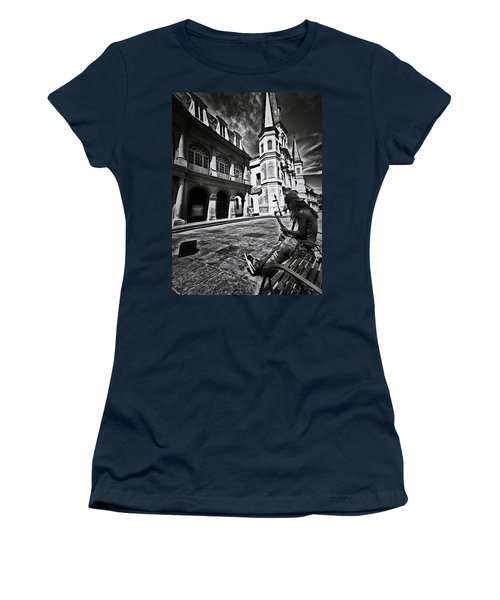 Women's T-Shirt (Junior Cut) featuring the photograph A Buck At A Time by Robert McCubbin