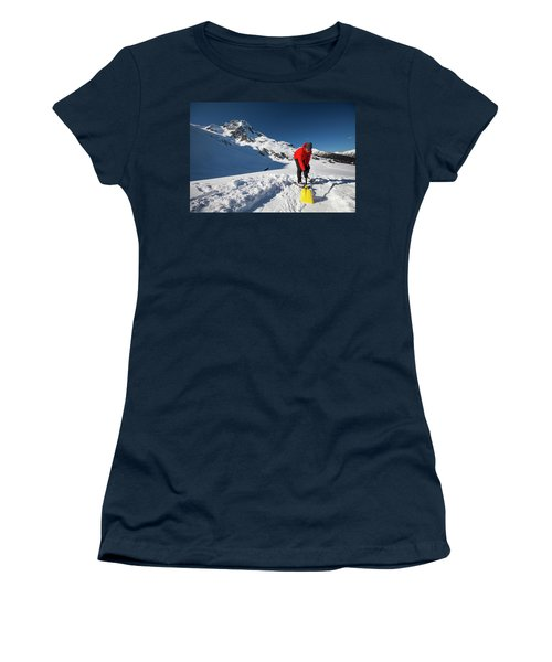 A Climber Shovels Snow In Order To Make Women's T-Shirt