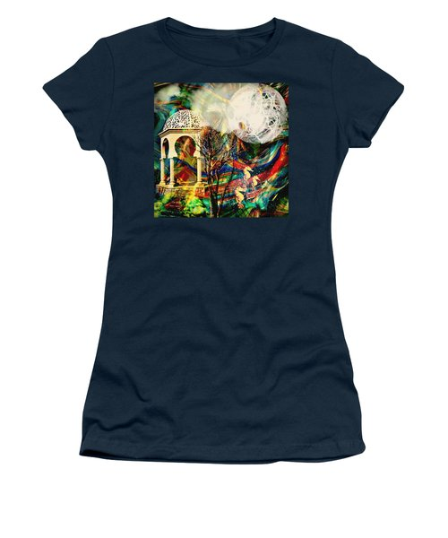 Women's T-Shirt (Junior Cut) featuring the mixed media A Day In The Park by Ally  White