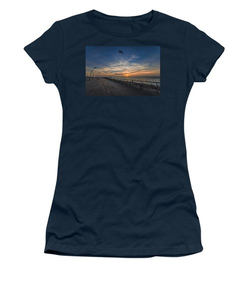 Women's T-Shirt (Athletic Fit) featuring the photograph a kodak moment at the Tel Aviv port by Ron Shoshani