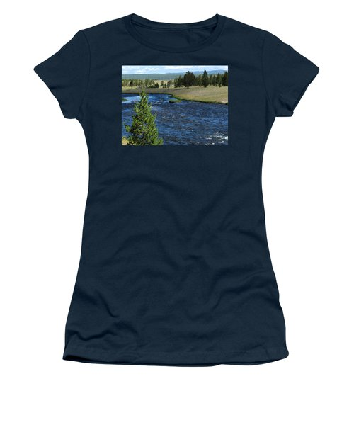 Women's T-Shirt (Junior Cut) featuring the photograph A River Runs Through Yellowstone by Laurel Powell