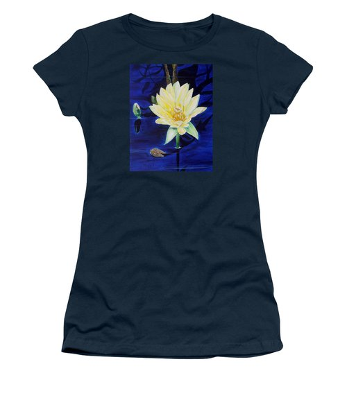 Women's T-Shirt (Junior Cut) featuring the painting A Waterlily by Marilyn  McNish