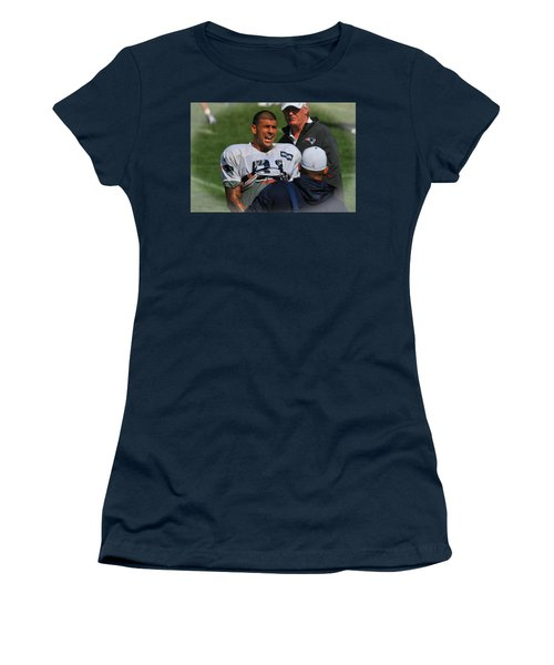Women's T-Shirt (Junior Cut) featuring the photograph Aaron Hernandez With Patriots Coaches by Mike Martin