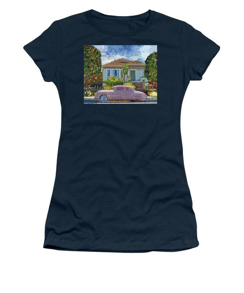 Alameda 1908 House 1950 Pink Dodge Women's T-Shirt (Junior Cut) by Linda Weinstock