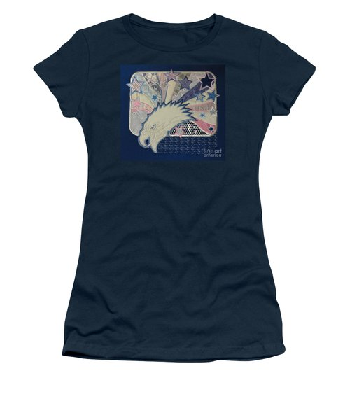 Women's T-Shirt (Junior Cut) featuring the digital art American Bald Eagle Embroidery by Maestro