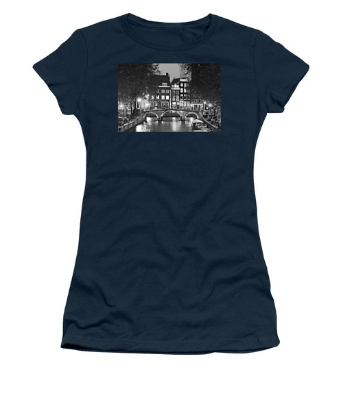 Women's T-Shirt featuring the photograph Amsterdam Bridge At Night / Amsterdam by Barry O Carroll