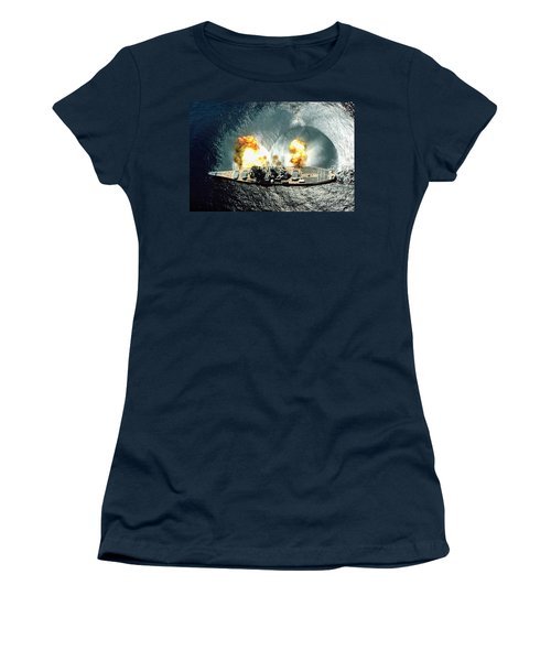 An Overhead View Of The Battleship Uss Iowa Bb61 Firing All 15 Of Its Guns Women's T-Shirt (Athletic Fit)