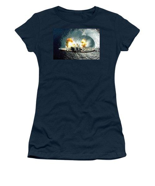 An Overhead View Of The Battleship Uss Iowa Bb61 Firing All 15 Of Its Guns Women's T-Shirt (Junior Cut) by Paul Fearn