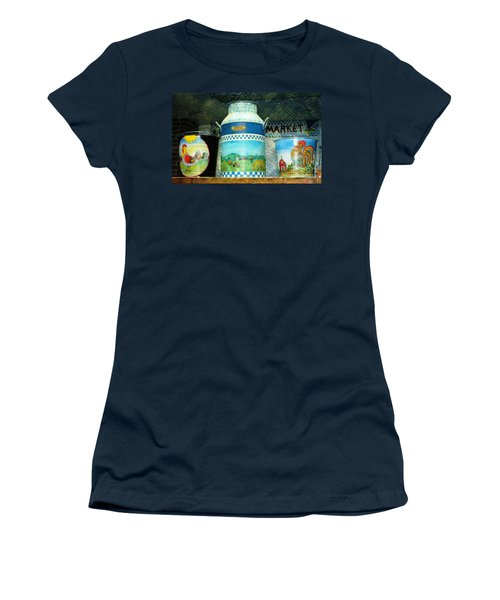 Women's T-Shirt (Junior Cut) featuring the photograph Antique Dairy Milk Can And Pails by Judy Palkimas