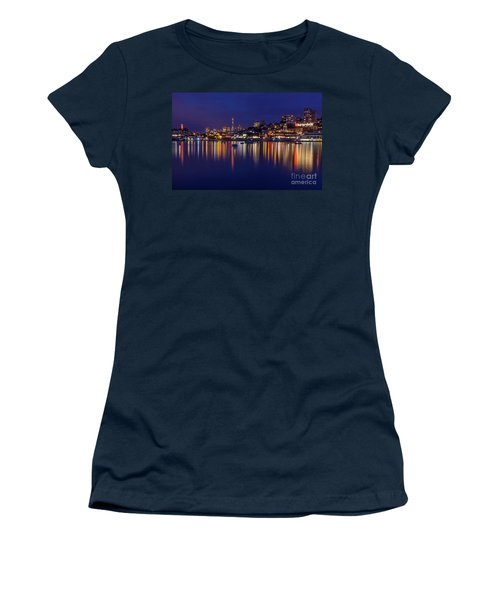 Women's T-Shirt featuring the photograph Aquatic Park Blue Hour Wide View by Kate Brown