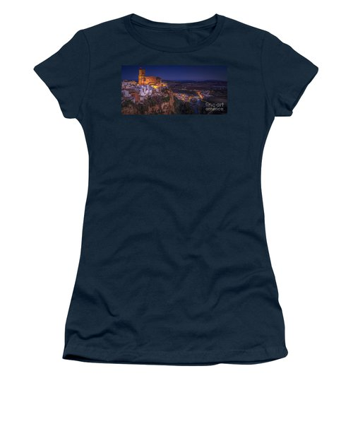 Arcos De La Frontera Panorama From Balcon De La Pena Cadiz Spain Women's T-Shirt (Junior Cut) by Pablo Avanzini