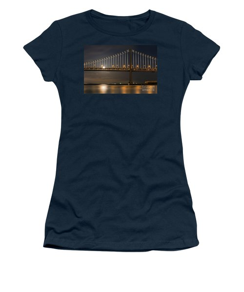Women's T-Shirt featuring the photograph Bay Bridge Moon Rising by Kate Brown