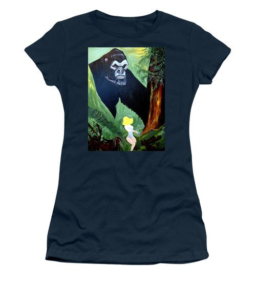 Women's T-Shirt (Junior Cut) featuring the painting Beauty And The Beast by Nora Shepley