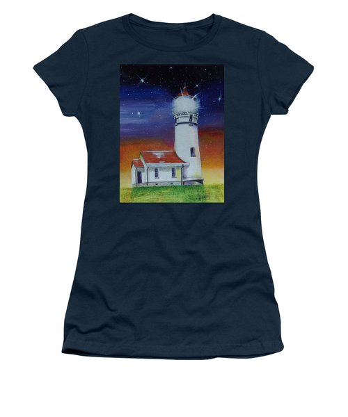 Women's T-Shirt (Athletic Fit) featuring the painting Blanco Lighthouse by Thomas J Herring