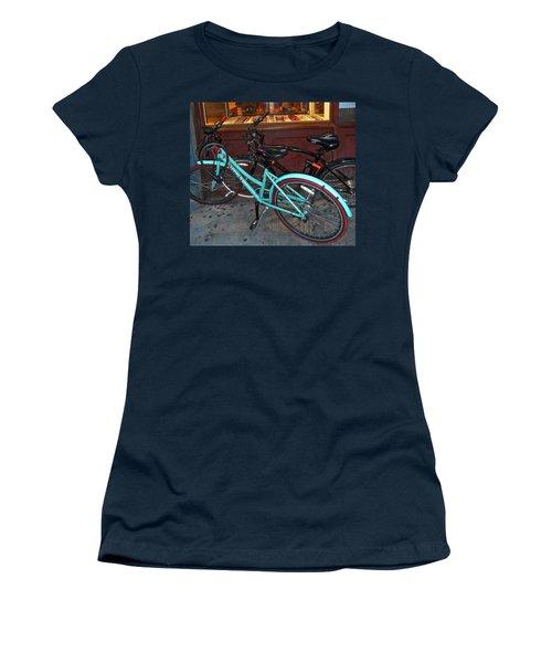 Women's T-Shirt (Junior Cut) featuring the photograph Blue Bianchi Bike by Joan Reese