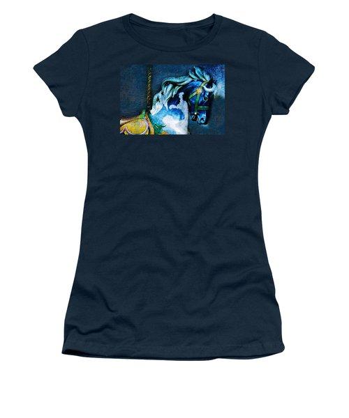 Blue Carousel Horse Women's T-Shirt