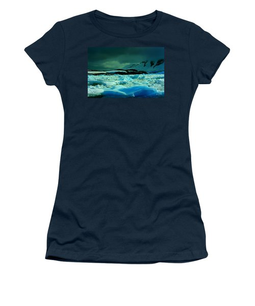 Women's T-Shirt (Junior Cut) featuring the photograph Blue Ice Flow by Amanda Stadther