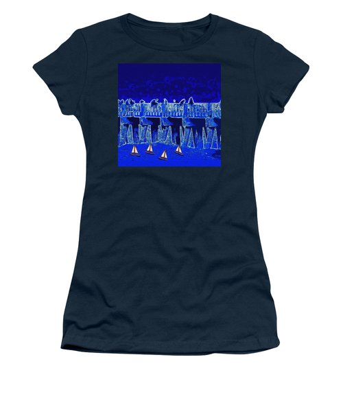 Women's T-Shirt (Junior Cut) featuring the painting Blue II Toy Sailboats In Lake Worth by David Mckinney