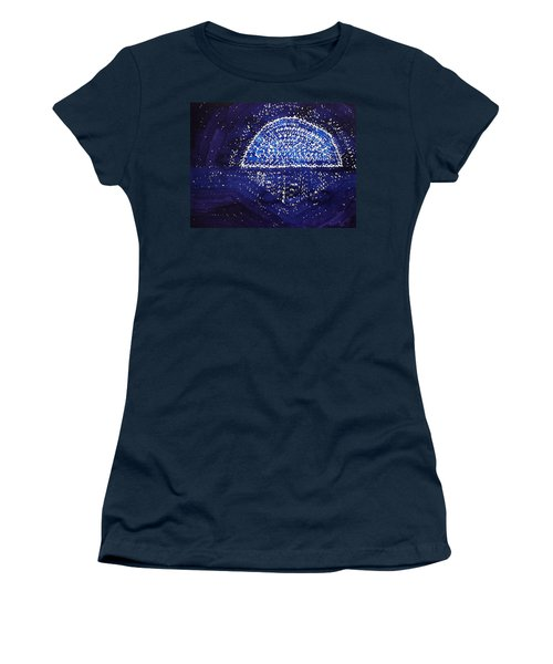 Blue Moonrise Original Painting Women's T-Shirt (Athletic Fit)