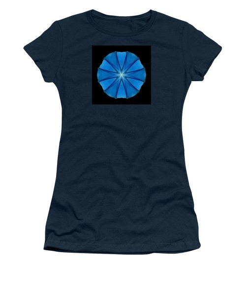 Blue Morning Glory Flower Mandala Women's T-Shirt (Athletic Fit)
