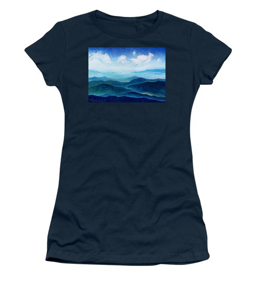 Blue Ridge Blue Skyline Sheep Cloud Women's T-Shirt (Junior Cut) by Catherine Twomey