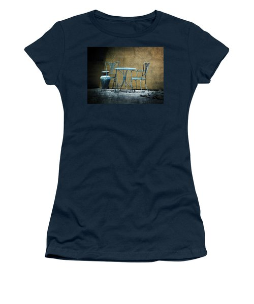 Women's T-Shirt (Junior Cut) featuring the photograph Blue Table And Chairs by Lucinda Walter