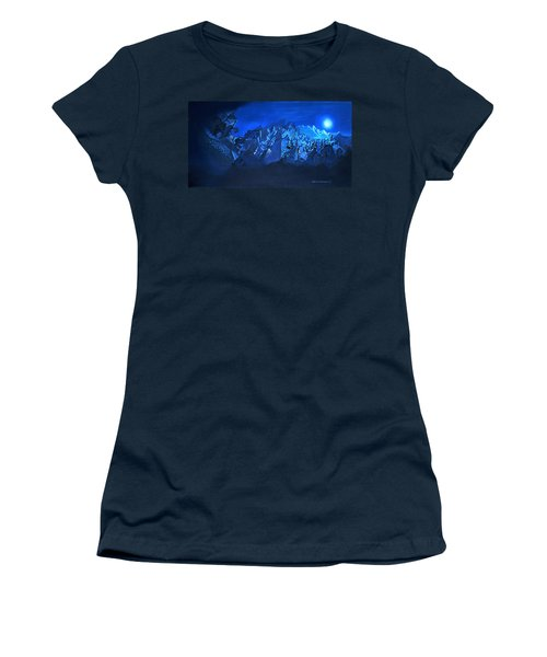 Women's T-Shirt (Junior Cut) featuring the painting Blue Village by Joseph Hawkins