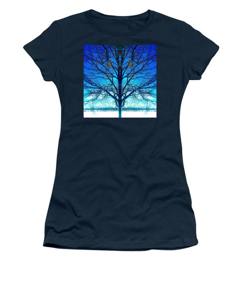 Blue Winter Tree Women's T-Shirt (Athletic Fit)