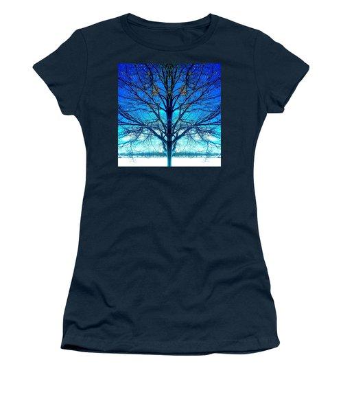 Blue Winter Tree Women's T-Shirt (Junior Cut) by Marianne Dow