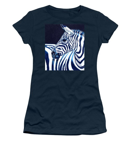 Women's T-Shirt (Junior Cut) featuring the painting Blue Zebra by Alison Caltrider