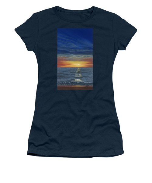 Blueberry Beach Sunset Women's T-Shirt (Athletic Fit)