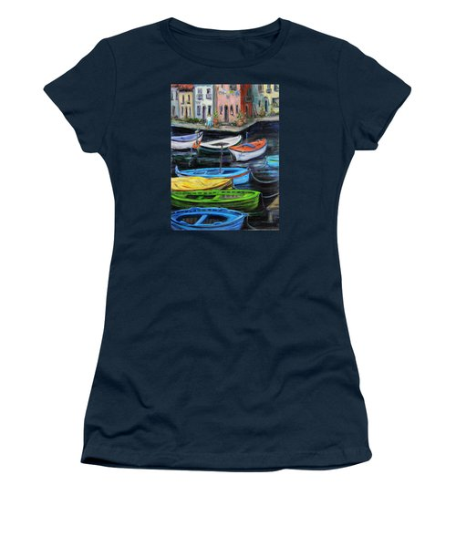 Women's T-Shirt (Junior Cut) featuring the painting Boats In Front Of The Buildings II by Xueling Zou