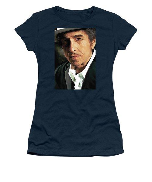 Bob Dylan Artwork Women's T-Shirt (Junior Cut) by Sheraz A