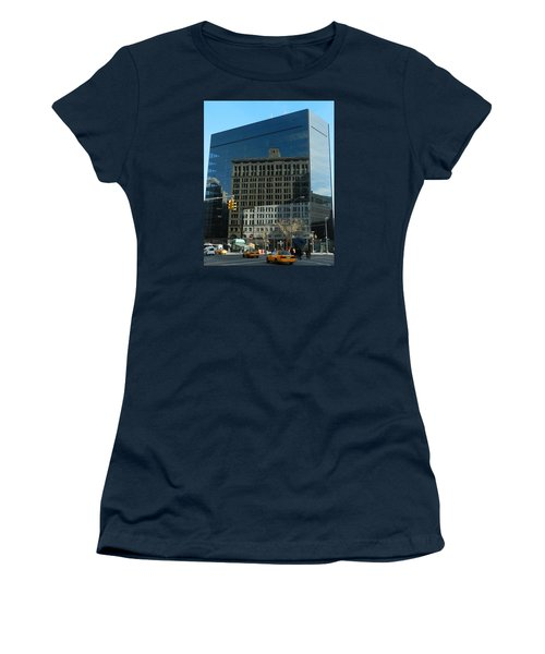 Women's T-Shirt (Junior Cut) featuring the photograph Building Reflections Nyc by Emmy Marie Vickers