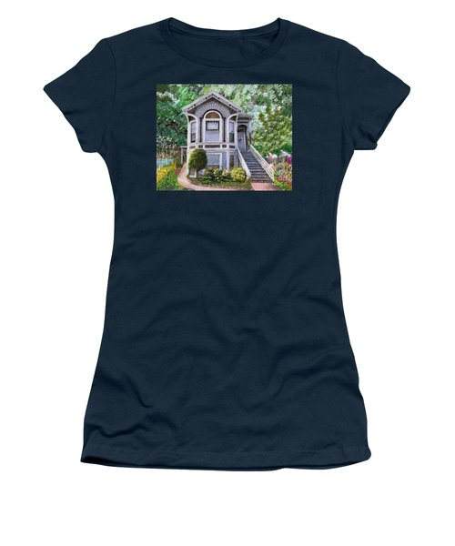 Women's T-Shirt (Junior Cut) featuring the painting Alameda 1895 Queen Anne by Linda Weinstock