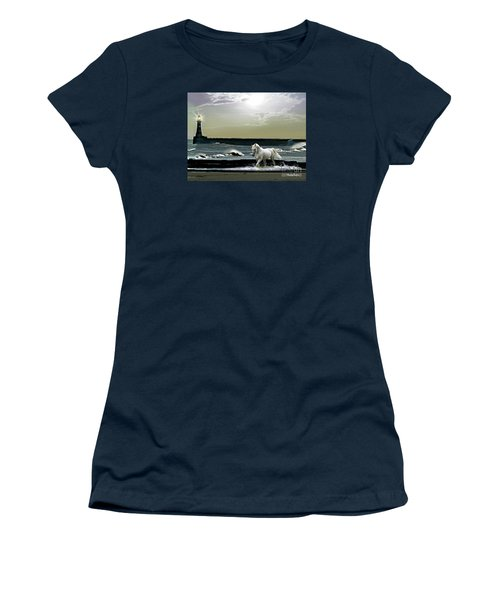 Women's T-Shirt (Junior Cut) featuring the mixed media By The Light Of The Silvery Moon by Morag Bates