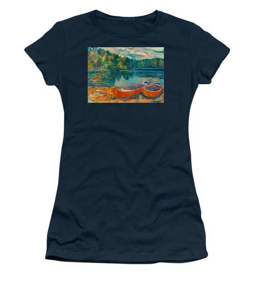 Canoes At Mountain Lake Women's T-Shirt (Athletic Fit)