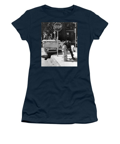 Car Flips Over At Stop Sign Women's T-Shirt