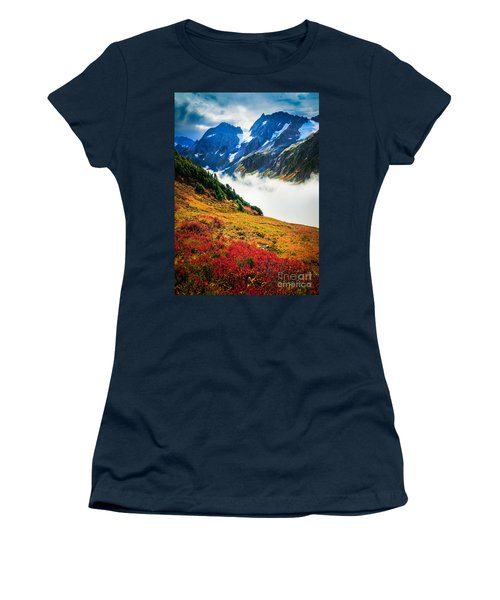 Cascade Pass Peaks Women's T-Shirt (Junior Cut) by Inge Johnsson