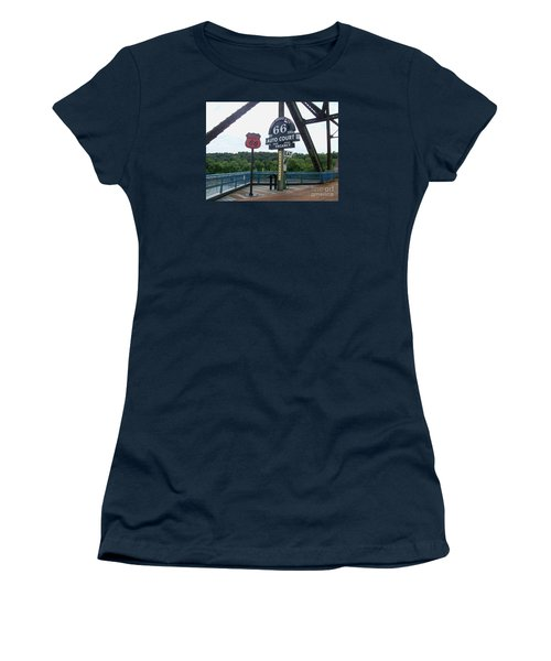 Women's T-Shirt (Junior Cut) featuring the photograph Chain Of Rocks Bridge by Kelly Awad