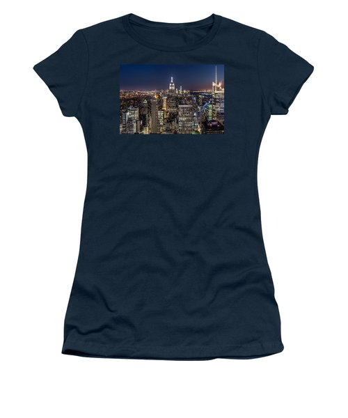 Women's T-Shirt (Junior Cut) featuring the photograph City Lights by Mihai Andritoiu