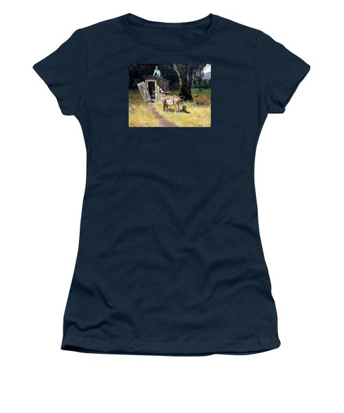 Cowboy On The Outhouse  Women's T-Shirt (Junior Cut) by Lee Piper