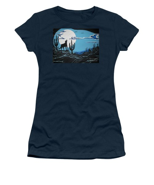 Women's T-Shirt (Junior Cut) featuring the painting Coyote by Jeffrey Koss